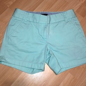 "J Crew chino shorts in mint 5"" - size 0"